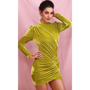 Give In To Me Lime Green Velvet Long Sleeve Round Neck Ruched Bodycon Mini Dress