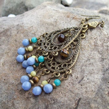 Rustic Gypsy Chandelier Earrings - Beaded with Blue Lace Agate, Amazonite, Peridot Jasper and Tiger Eye Gemstones