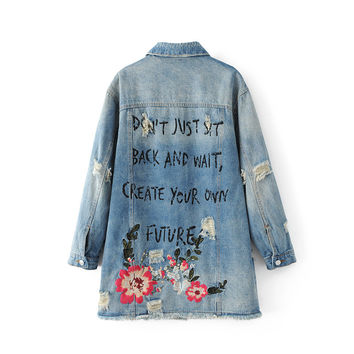2017 long denim jacket women embroidery blue loose hole vintage ripped steampunk outerwear pocket distressed long sleeve coat