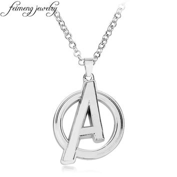 feimeng jewelry Marvel Comic The Avengers Necklace Superhero A Logo Pendant Necklace For Men Cool Accessories