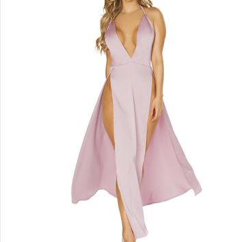 Pink Deep V Plunge Maxi Dress w/ High Leg Slits Resort Wear (Burgundy also available)
