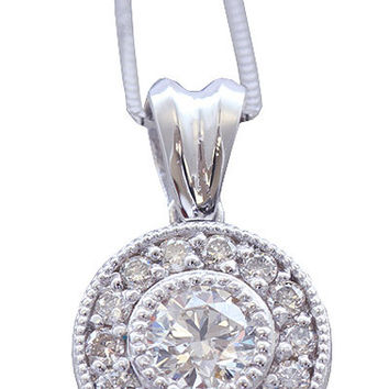 14k white gold round cut diamond bezel set antique style necklace 0.78ctw