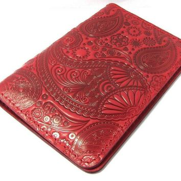 Leather wallet for money and documents, Leather handmade purse, Leather wallet, handmade wallet, Red purse with floral pattern