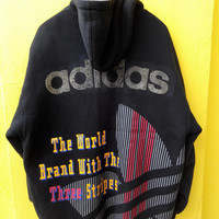 Vintage Rare 80's ADIDAS Ski Wear Rainbow 3 Stripes Trefoil Sweater Big Logo Hip Hop Bomber Jacket Hoodie Size L