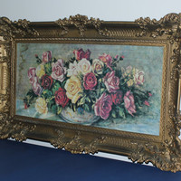 Large French Provincial ornate gold framed flower art