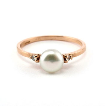 Engagement Ring, Pearl Wedding Ring, Rose Gold Engagement Ring, Vintage Style Ring, Unique Engagement Ring, Pearl Ring, Wedding Ring,Diamond