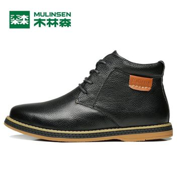 Mulinsen Autumn&Winter Men Sports Hiking Shoes Black/Blue/Brown Sport Shoes Genuine Leather Wear Non-slip Outdoor Sneaker 260105