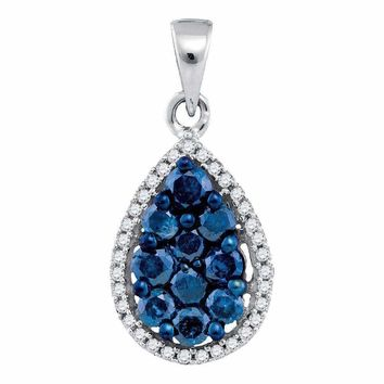 10kt White Gold Women's Round Blue Color Enhanced Diamond Teardrop Cluster Pendant 3-4 Cttw - FREE Shipping (US/CAN)