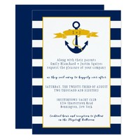 Blue White Stripes Gold Details Nautical Wedding | Card