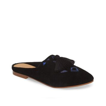Soludos Women's Black Embroidered Palazzo Loafer Mule