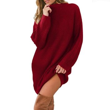 Autumn Women dress Vestidos De Fiesta Knitted O Neck Long Sleeve Loose Sweater Pullover Dress Christmas Dress Women 2019