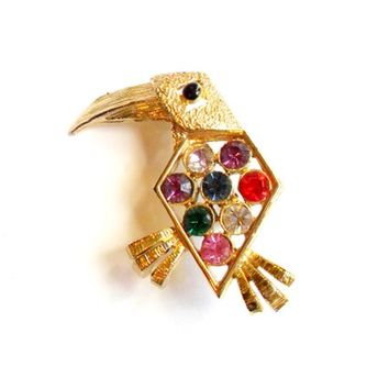 Vintage Toucan Brooch - Rhinestone Bird Brooch - Stylized Geometric Modern - MCM Bird - Mid Century Modern - Broach Pin - Colorful Glass