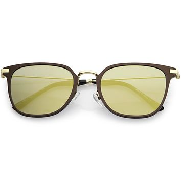 Retro Modern Premium Horned Rim Mirrored Flat Lens Sunglasses C834