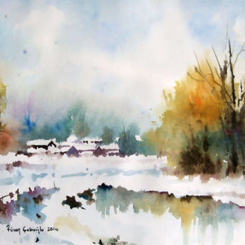 Original Watercolor, Landscape, Snow, Frozen Lake, Original Painting