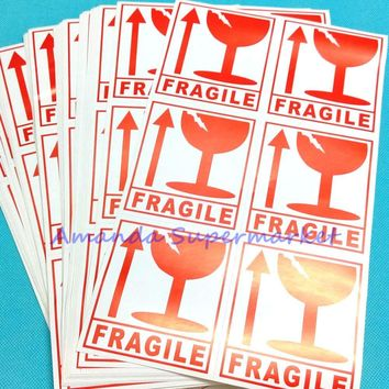 Fragile Warning Label Sticker Handle With Care Sticker 300pcs (50 sheets) 80 mm x 90 mm Coated Paper