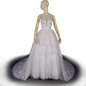 O-neck Long Wedding Dress Court Train White Tulle Bridal Gown Luxury Bead Ball Gown Wedding Gown