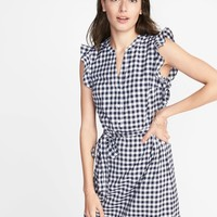 Sleeveless Ruffle-Trim Shirt Dress for Women | Old Navy