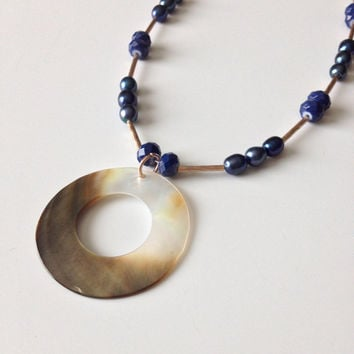 Navy Blue Necklace - Shell and Pearls Necklace