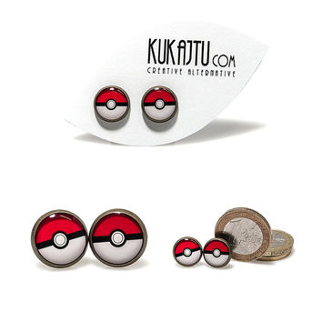 Poke Ball Stud Earrings Cartoon Poke Ball Jewelry Black Red White Earrings Pokemon Jewelry Pokeball Stud Earrings