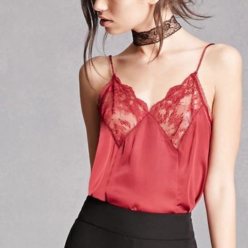 Lace-Paneled Satin Cami
