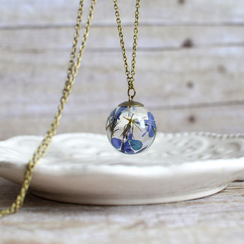 Flower sphere necklace- blue verbena  - nature inspired - botanical jewelry, real flower necklace, gift under 40, bridal jewelry
