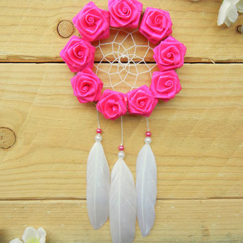 Pink Rose Dreamcatcher: Small Dreamcatcher, Rearview Mirror Accessory, Car Dreamcatcher, Hot Pink, Sweet 16 Gift, Pink Dreamcatcher, Boho