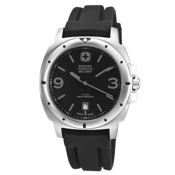 Wenger 79365 Men's Military Expedition Black Dial Rubber Strap Stainless Steel Watch