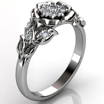 14k white gold diamond unusual unique cluster floral engagement ring, bridal ring, wedding ring ER-1074-1.