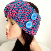Free USA shipping. Valentine's Crochet Ear Warmer/ Headband. Girls/ Women's Crochet Winter Accessory