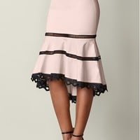 Blush & Black High Low Midi Skirt | VENUS