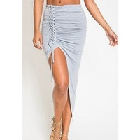 High low lace up gray skirt