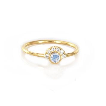 14kt Gold Rainbow Moonstone & Diamond Aztec Ring