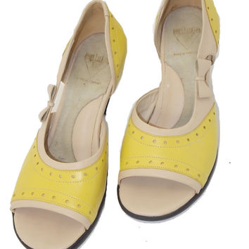 John Fluevog Lemon Yellow Slip-on, open toe womens size 8 shoes