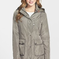 Women's DKNY Grosgrain Trim Hooded Raincoat