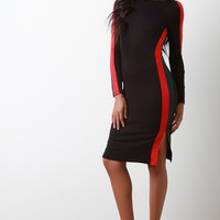 Jersey Knit Striped Bodycon Dress