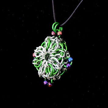 Chainmaille Pendant Medallion Necklace, Green and Silver, Compass Points