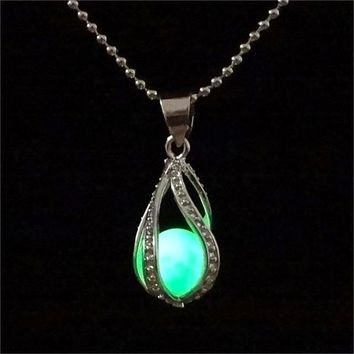 Glow In The Dark Luminous Stone Locket Necklace Silver Color