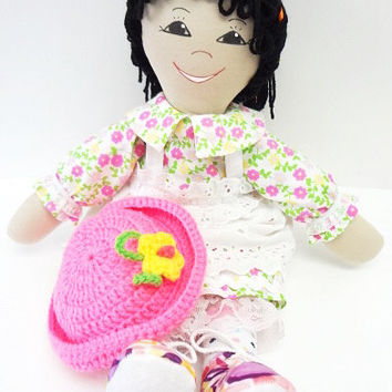 handmade ragdoll ethnic cloth rag doll ribbons in hair tan skin black eyes pink flower dress pink shoes NF51