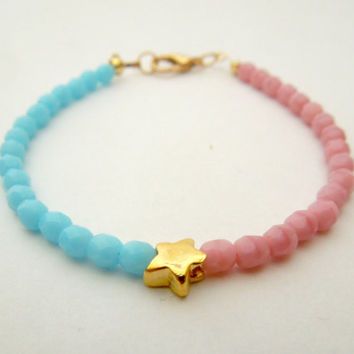 Turquoise and Coral Glass Bead Star Bracelet // Pastel Coral and Mint Glass Bead Charm Bracelet // Easter Bracelet Gift // Candy Bracelet
