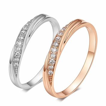 Top Quality Simple Cubic Zirconia Lovers Rose Gold Color Wedding Ring Jewelry