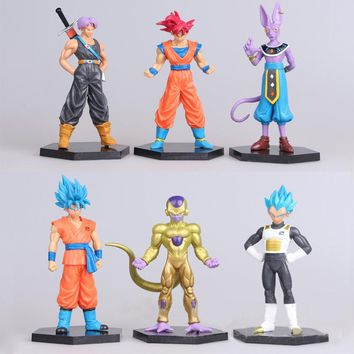 6PCS 14cm Figma Super cute Seven Dragon Ball Sun Wukong The Money King clay Hand model Figure Doll Toys WJ358