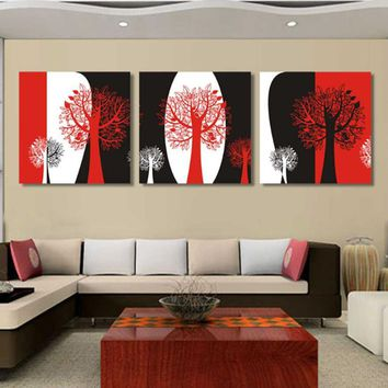 Abstract Black And Red White Wall Canvas