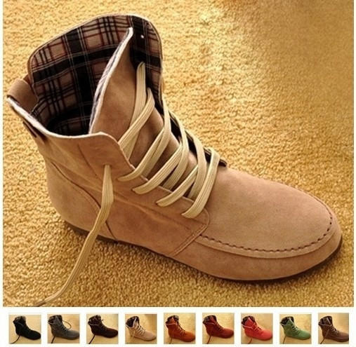 New Women Flat Ankle Snow Motorcycle Boots Female Suede Leather Lace-Up  Martin Boot Pl 0fdd3b740