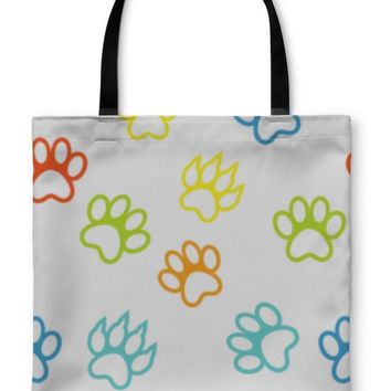 Tote Bag, Colored Pattern With Paw Prints Dog Cat