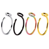BodyJ4You 4PCS Nose Hoop Ring Fake Clip On Stainless Steel 20G Septum Cartilage Faux Jewelry Set