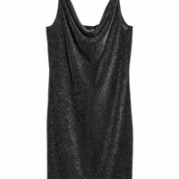 Fitted dress - Black/Glittery - Ladies | H&M GB
