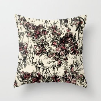 vintage rose Throw Pillow by kociara
