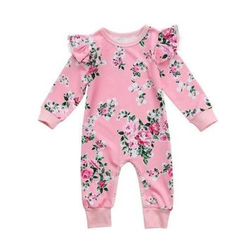 Toddler Kid Baby Girl Floral Long Sleeve Lace Floral Ruffles Romper Jumpsuit Clothes Outfit US Stock