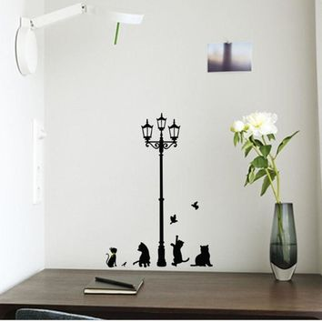 1 PCS New Arrival Cat Wall Sticker Lamp and Butterflies Stickers Decor Decals for Walls vinyl Removable Decal wall Murals