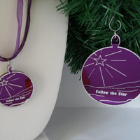 Christmas in July Sale Christmas  ornament with matching small ornament necklace boxed set purple mirrored acrylic with  white star